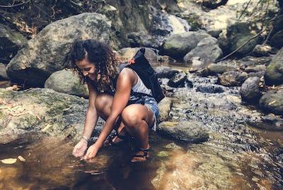Woman enjoying an outdoor trip