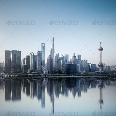 shanghai skyline in morning with reflection