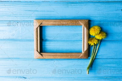 Dandelion with a wooden photo frame on a blue background