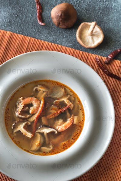 Portion of thai tom yum soup