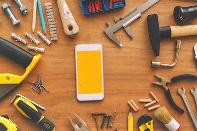 Handyman smart phone with blank screen