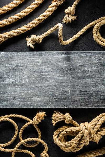 ship rope at black