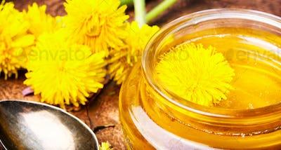 Healthy dandelion honey and tea