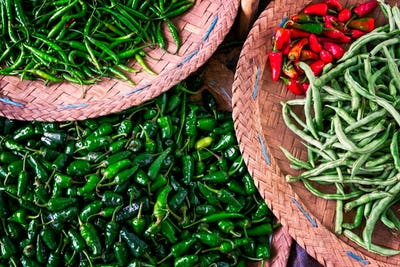 Close up of red and green chilli peppers on Asian market