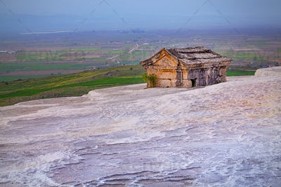 Ancient tomb on Travertine hills in Hierapolis near Pamukkale, Turkey
