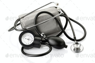 Medical sphygmomanometer and stethoscope, blood pressure control