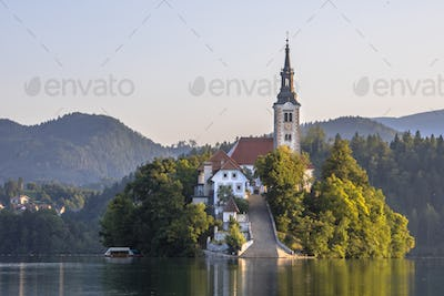 Island in lake Bled in hazy morning light