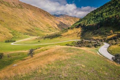 Winding Road in the  Moke Lake Valley near Queenstown