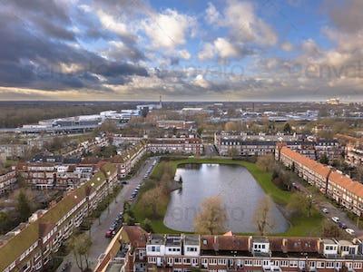 Aerial view dutch city