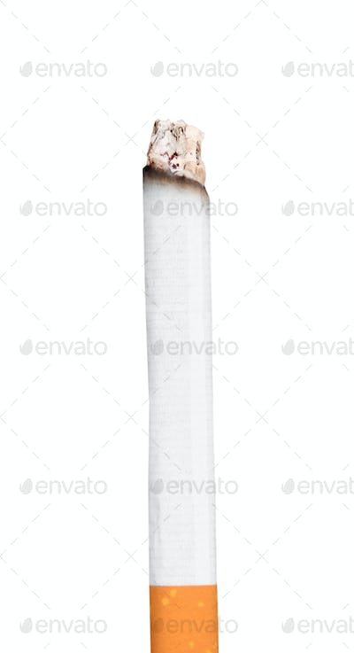 Burning cigarette with ashes isolated on white.