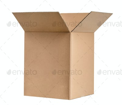 Closed cardboard isolated on white background