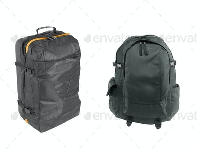 black backpacks isolated on a white background