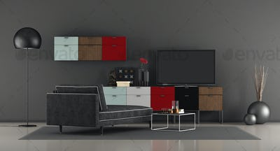 Modern living room with tv on sideboard