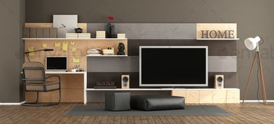 Living room with tv set and workstation