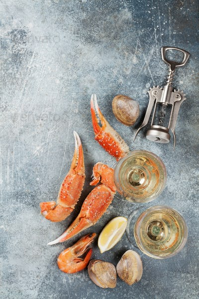 Seafood and wine