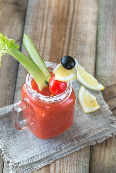 Tomato juice in the mason jar