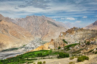 View of Spiti valley and Dhankar Gompa in Himalayas