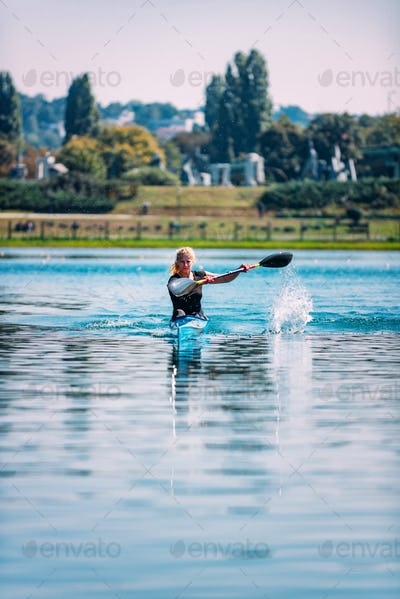 Female athlete in kayak