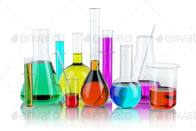 Laboratory glassware test glass flasks and tubes with solution i