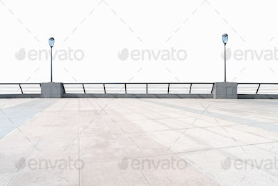 empty floor and railings isolated