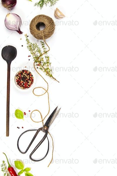 Herbs and spices background