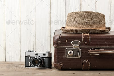 Summer vacation and travel retro style background