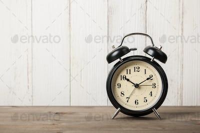 Retro alarm clock on desktop