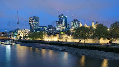 London skyline at cloudy night