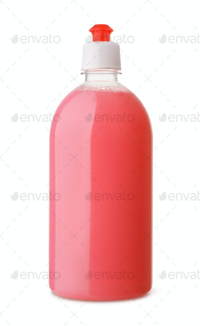 Plastic bottle of pink liquid soap