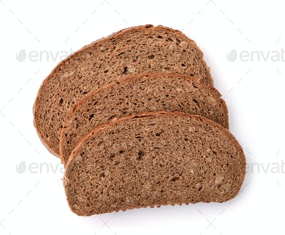 Three slices of rye bread with bran