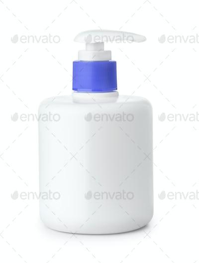 Blank plastic bottle of liquid soap with  pump dispenser