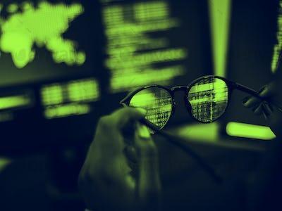 Data code software on screen