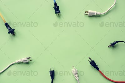 Electricity power supply plug isolated on background