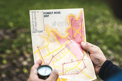 Closeup of  orienteering box location map