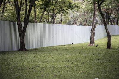 Big fence in an urban park