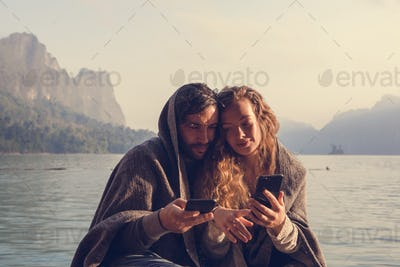 Couple staying connected through social media