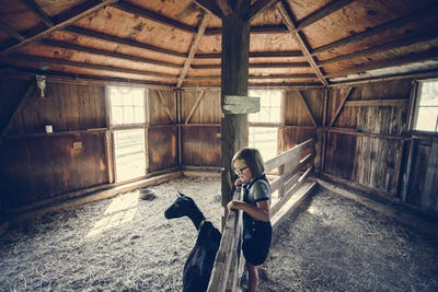 Little girl playing with a goat