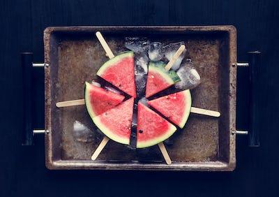 Juicy fresh watermelon on sticks