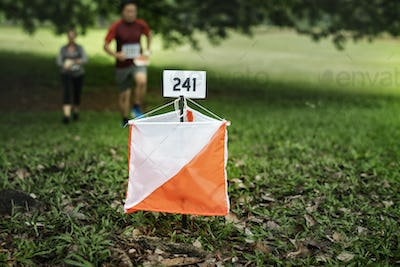 Orienteering box outdoor in a forest