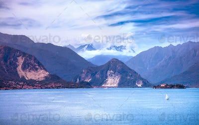 Maggiore lake and Monte Rosa Weissmies Alps mountein, Stresa Pie