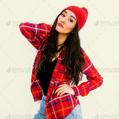Pretty brunette Girl. Urban Fashion Look.  Checkered shirt and b