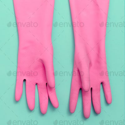 Pink Rubber gloves. Minimal. Pastel Trends