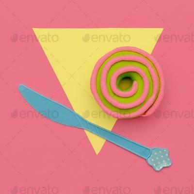 Creative Donut. Flat lay. Sweet candy minimal art