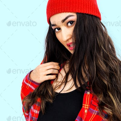 Beautiful brunette Girl. Casual style
