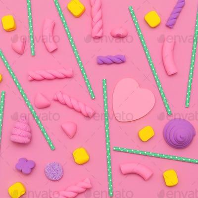 Candy background. Candy Minimal Flatlay art