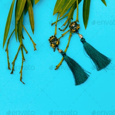 Earrings. Stylish accessory for Lady Flat lay Store