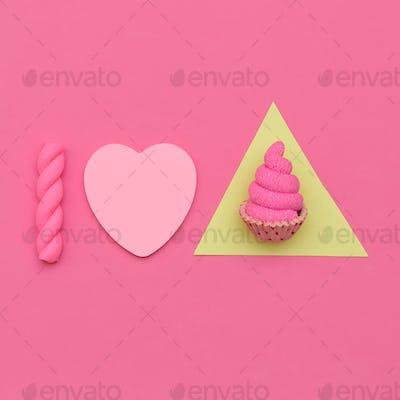 I love Cake.  Candy  Minimal Mood. Flatlay art
