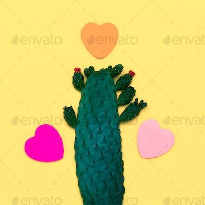 Cactus and Hearts. Minimal Art Flat lay