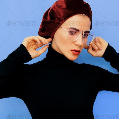 Girl Model in a fashion accessory. Beret. Vintage style