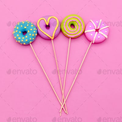 Fashion Lolipop Donuts. Pink Candy Minimal Flatlay art.